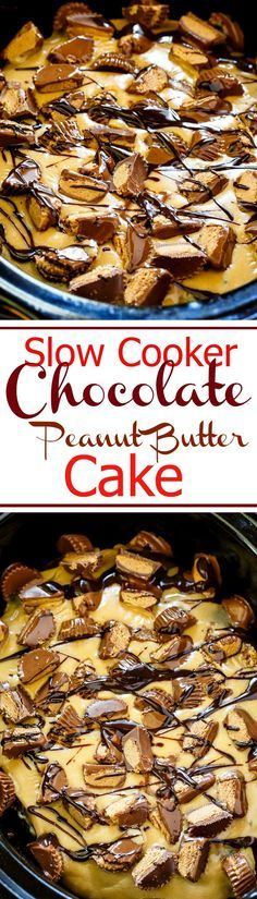 Crock Pot Chocolate Peanut Butter Cake covered in a peanut butter glaze and lots of mini peanut butter cups.
