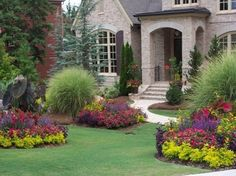 Wonderful Landscape Design Pictures Front Of House Design Ideas : Cool Landscape Design Pictures Front Of House White Windows Frames Green Grass Colorful Flowers Brick Wall