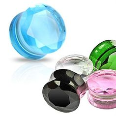 Sold as a Pair Plugs Faceted Pyrex Glass Double Flared Ear Plug Cosmic Clear