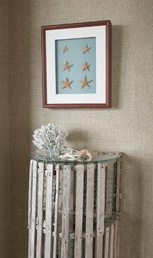 Cool idea using the lobster trap as the entryway table (RM) Beach Style Hall Design Ideas, Pictures, Remodel and Decor