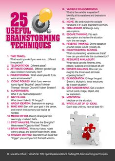 25 Useful Brainstorming Techniques  #brainstorming #creativity #manifesto Read more: http://personalexcellence.co/blog/brainstorming-techniques/