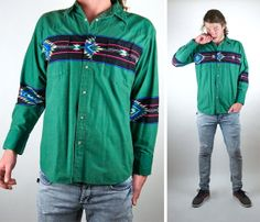 Rustler By Wrangler Vintage Western Shirt / 70s Retro / Aztec / Cowboy / Long Sleeve / Green / FRESH / Mens Size Large