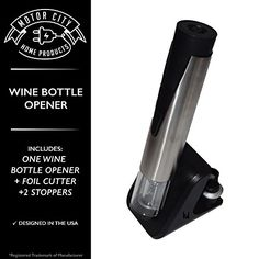 Electric Wine Bottle Opener with Preserver, Foil Cutter, & 2 Stoppers, A Motor City Home Products Brand (1)