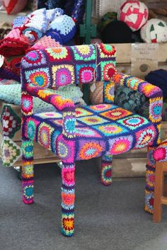 Bespoke Granny Square Crochet, Yarn Bombed Chair