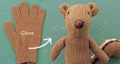 DIY squirrel made out of gloves Softies, Crafts To Do, Crafts For Kids, Arts And Crafts, Chipmunks, Sewing Projects, Craft Projects, Project Ideas, Animal Projects