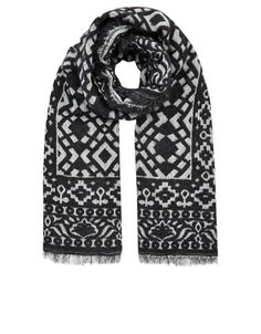 Go for globe-trotting glamour with our Bengal blanket scarf, patterned with a traditional mosaic motif, and finished with frayed edges. Made with soft blends of cotton and wool, this oversized piece will keep you warm ad stylish when the cold weather hits.