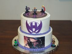 Here is a Hawkeye Avengers themed birthday cake we did!