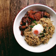 Cloudy day shoot and - ginger scallion noodles, char siu, onsen tamago. Onsen Tamago, Char Siu, Cloudy Day, Noodles, Spaghetti, Breakfast, Ethnic Recipes, Food, Macaroni