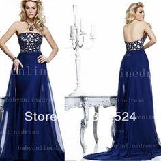 Vestidos de fiesta de color azul con encaje