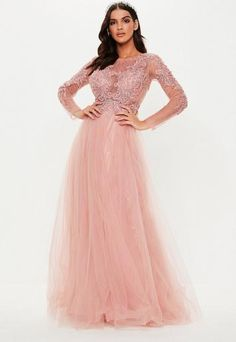 816acf4a a nude long sleeve maxi dress featuring a mesh and beaded diamante detailed  top and a