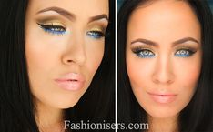 Gold Makeup Tutorial with Blue Under-Eye Liner