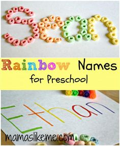 Write child's name using a different color for each letter. The children will have to sort the fruit loops by color and then glue them onto the matching color letter of their name.