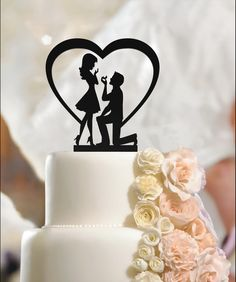 Excited to share the latest addition to my #etsy shop: Bride and Groom Silhouette Wedding Cake Topper, Hearth, Fiance & Fiancee, Bride and Groom, Ring, Engagement,Cake Topper,High quality Acrylic #weddings #decoration #brideandgroom #fianceandfiancee #engagement #ring #wedding #weddingcaketopper #hearth http://etsy.me/2FNn0vR