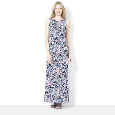 159500 - Kim & Co Printed Brazil Knit Regular Length Maxi Dress - QVC Price: £63.00   Feature Price: £44.97 + P&P: £5.95 or 3 Easy Pays of £14.99 +P&P in  3 of 4 colour options  A gorgeous maxi dress from Kim & Co boasting an all-over print with a banded round neckline, flattering seam detailing around the waist, plus pleating at the front.