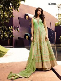 Shop Designer Lehenga Kurtas, Indo western lehengas online : Designed to perfection, green and beige raw silk readymade lehenga and kurta features zari embroidery and border detailing. Paired with a matching dupatta. *Call / Whatsapp / Viber : +91-9052526627 *Email : customercare@natashacouture.com *Worldwide Shipping | Free shipping in India | Cash on delivery *