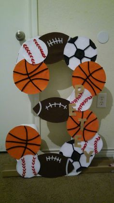 Large number 3 cut out sports themed sports themed birthday party, ball birthday parties, Sports Themed Birthday Party, Ball Birthday Parties, Basketball Birthday, Kids Sports Party, 1st Boy Birthday, Birthday Ideas, First Birthdays, Number 3, Etsy