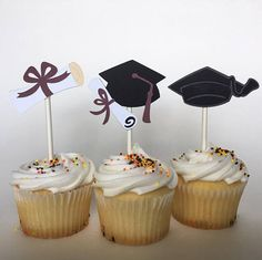 These Graduation Party Toppers are a wonderful way to spruce up your beautiful cupcakes and turn your party into the envy of the night! Each order has twelve handcrafted toppers and each topper is made of multi-layered cardstock for durability. Graduation Cake Designs, Graduation Party Desserts, Graduation Party Planning, Graduation Cupcakes, Graduation Decorations, Graduation Party Decor, Graduation Photos, Grad Parties, Birthday Parties