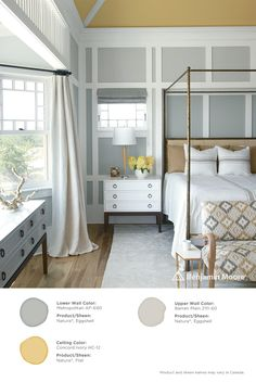 A cheery bedroom. #BenjaminMoore Metropolitan AF-690 with Natura, eggshell finish (lower wall); Concord Ivory HC-12 with Natura, flat finish (ceiling); and, Barren Plain 2111-60 with Natura, eggshell finish (upper wall).