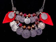 Scarlet Double Talhakimt Necklace with Coins Boho Gypsy Tribal Belly Dance Festival Burning Man