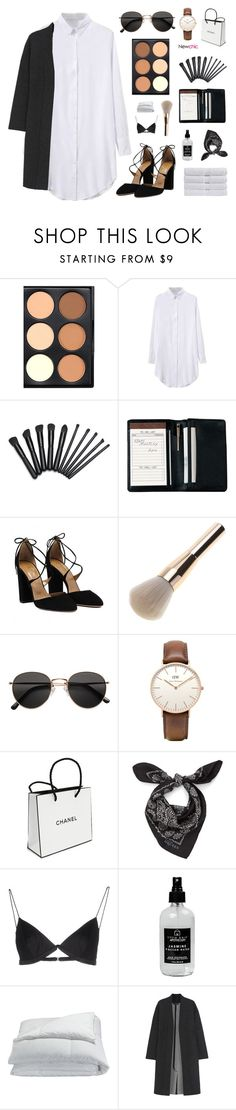 """""""Newchic 8"""" by jesicacecillia ❤ liked on Polyvore featuring Royce Leather, H&M, Daniel Wellington, Chanel, Alexander McQueen, T By Alexander Wang, Little Barn Apothecary, Frette, Calvin Klein Collection and Christy"""
