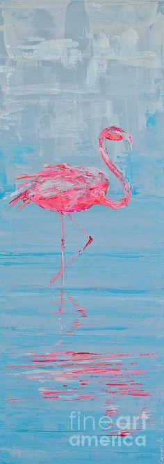 Beach Painting - single flamingo I by Paola Correa de Albury