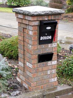 brick mailbox mailbox design ideas fresh unique brick mailbox design brick and stone mailbox ideas Mailbox On House, New Mailbox, Mailbox Ideas, Mailbox Designs, Mailbox Post, Fence Ideas, Diy Backyard Fence, Mailbox Landscaping, Stone Mailbox