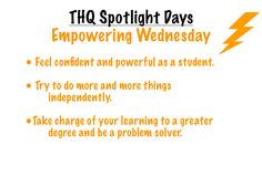 """This visual introduces students to """"Empowering Wednesday,"""" the third of five """"Spotlight"""" days that I incorporated into our weekly schedule to give special attention to important ideas and priorities. Teaching Career, Weekly Schedule, Character Development, Social Skills, Priorities, Spotlight, Classroom Ideas, Wednesday, Third"""