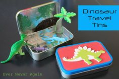 Dinosaur travel tins for car trips with kids