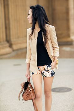 Floral shorts with navy/black background