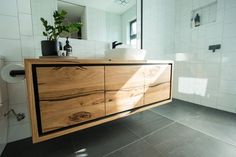 Wall hung timber bathroom vanity with drawers Timber Bathroom Vanities, Bathroom Vanity Drawers, Timber Vanity, Wooden Vanity, Wall Hung Vanity, Bathroom Cabinets, Bathroom Furniture, Attic Shower, Bathroom Renovations