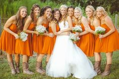 For our Longhorn fans! Orange bridesmaid dresses // J Photography Camo Wedding, Dream Wedding, Wedding Day, Wedding Things, October Wedding, Wedding Dreams, Wedding Stuff, Bridesmaids And Groomsmen, Wedding Bridesmaids