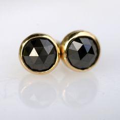 rose cut black diamond earrings $250