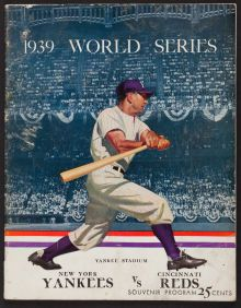 Chicago Cubs at New York Yankees tin sign 1938 baseball World Series Program