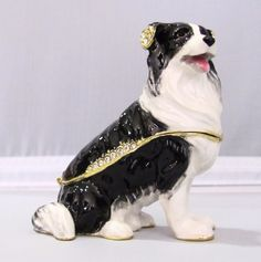 New Trinket Box Gift Crystals Black and White Collie Dog Animal Necklace
