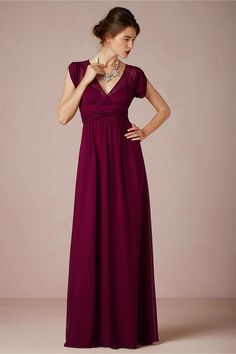 love this deep berry color for the holidays! | Ava Maxi Dress in Bride Reception Dresses at BHLDN