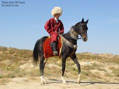 Riding an Akhal-Teke horse from Turkmenistan - named the most beautiful breed in the world.