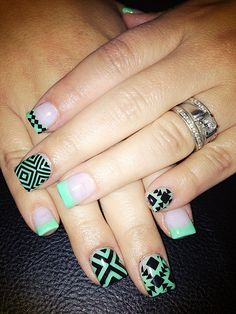 Tribal Nail Art. my nails today!!