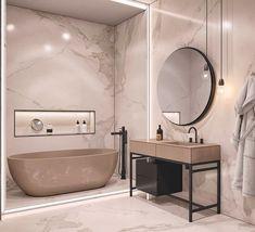 contemporary bathroom Interior Design Using Marble And Wood Combinations Bathroom Design Inspiration, Bad Inspiration, Bathroom Interior Design, Interior Design Living Room, Design Ideas, Design Design, Design Trends, Plan Design, Interior Inspiration