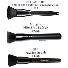 DUPE ALERT  We found amazing alternatives for the @itcosmetics Velvet Luxe Buffing Brush ($38) with the @morphebrushes MB 6 Flat Buffer ($7.99) and the @elfcosmetics Powder Brush ($2.99). They all are dense and leave a flawless finish! #dupeboss