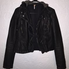 Free people leather jacket Worn once but it's too small for me. The size in it says 0... But I'm assuming it's an x-small. Brand new, I wore it once. Only problem with the jacket is that the zipper is broken off. But it's not a big deal, cuz I think it looks cuter w/o it zipped. Free People Jackets & Coats Utility Jackets