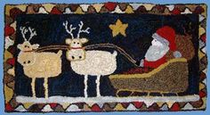 Rustic Rugs - Patterns Page 5 Rustic Rugs, Santa Sleigh, Punch Needle, Rug Hooking, Carpet Runner, Primitive, Needlework, Kids Rugs, Pillows