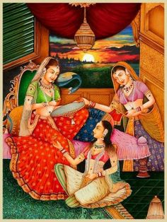 The artist has very creatively blended colours to depict the colourful apparel designs and lifestyle of Mughal noble women. Most artists of the Mughal era focused their attention on depicting beauty. They were much attentive to the intricacies of the designs of jewels, drapes and clothes sometimes overlooking other aspects that they considered less important.