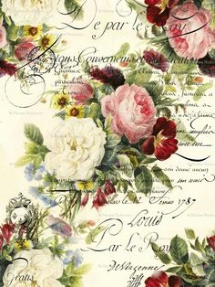 63 ideas for flowers vintage printable decoupage Decoupage Vintage, Vintage Diy, Vintage Labels, Vintage Ephemera, Vintage Cards, Vintage Paper, Vintage Postcards, Printable Vintage, Shabby Vintage