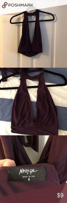 Low neck-choker style crop top So cute, choker style open vee neck crop top. Never worn. Size small wine color Nasty Gal Tops Crop Tops