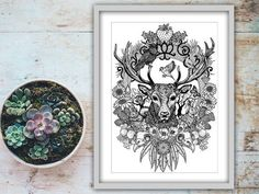 Stag Art Print Wildlife Illustration Signed by BeccaWhoDesigns