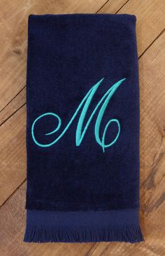 Monogrammed Towels, Personalized Towels with Single Initial Script Font Embroidered Hand Towel, Fingertip Towel, Towels for Bathroom Monogram Towels, Personalized Towels, Monogram Initials, Guest Towels, Hand Towels, Fingertip Towels, Dobby, Drink Sleeves, House Warming