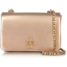 Tory Burch Handbags Mercer Rose Gold Metallic Leather Adjustable... ($535) ❤ liked on Polyvore featuring bags, handbags, shoulder bags, beige shoulder bag, evening handbags, tory burch handbags, beige leather handbag and woven-leather handbags