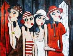 Hand Painted Four Beautiful Girl Oil Painting on Canvas by Skill Painter Abstract Figure Oil Painting for Living Room Decor Art Simple Oil Painting, Oil Painting On Canvas, Canvas Art, Art And Illustration, Art Fantaisiste, Wal Art, Arte Pop, Whimsical Art, Painting Inspiration