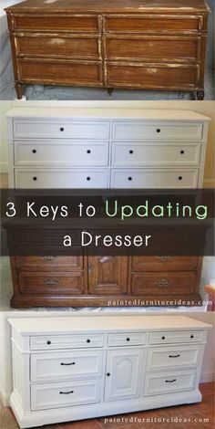 3 Keys to Updating a Dresser – Painted Furniture Ideas – Furniture Makeover & Furniture Design Refurbished Furniture, Paint Furniture, Repurposed Furniture, Furniture Projects, Furniture Making, Furniture Makeover, Home Projects, Home Furniture, Dresser Furniture