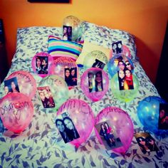 birthday present for bestfriend!! Balloons with pictures of us with a written memory from when the pic was taken <3